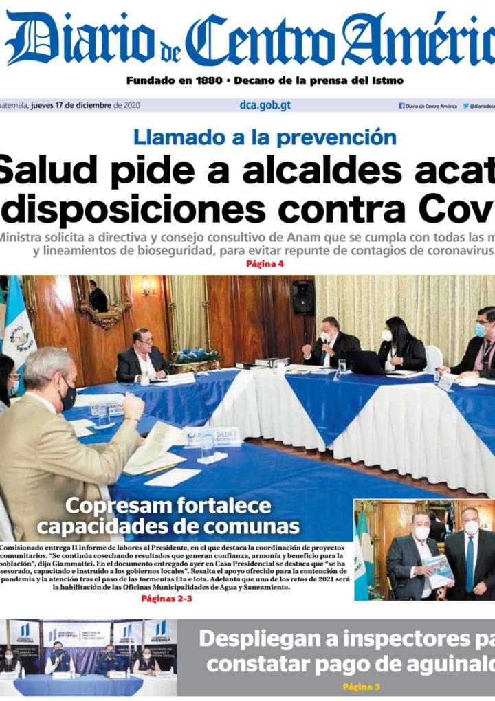 Edición del Diario de Centro América del jueves 17 de diciembre de 2020.